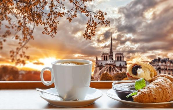 Картинка Париж, кофе, завтрак, Paris, cathedral, France, Notre Dame, cup, джем, coffee, croissant, breakfast, круассан, Нотр ...