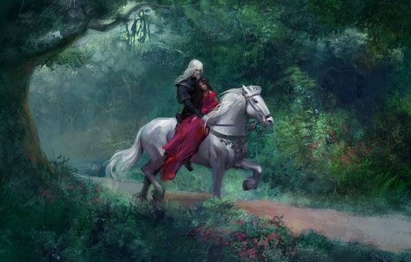 Картинка лес, девушка, дерево, лошадь, арт, парень