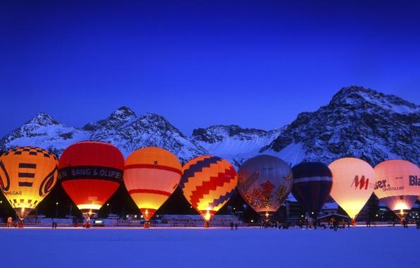 Картинка Зима, Швейцария, Шары