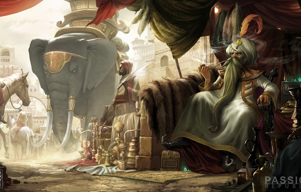 Картинка город, лошадь, дым, слон, трубка, арт, всадник, сундук, Strife, кувшины, MOBA, самоцветы