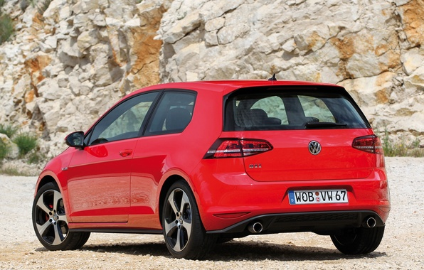 Картинка авто, Volkswagen, вид сзади, Golf, GTI, фольксваген, 3-door