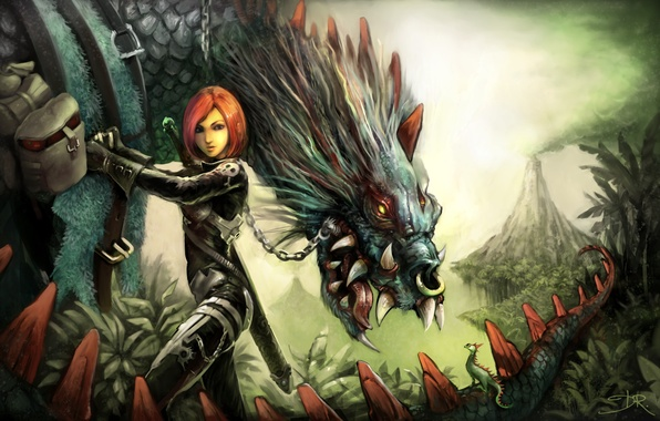 Картинка взгляд, девушка, оружие, фантастика, монстр, существо, вулкан, арт, пасть, David Revoy, ремни