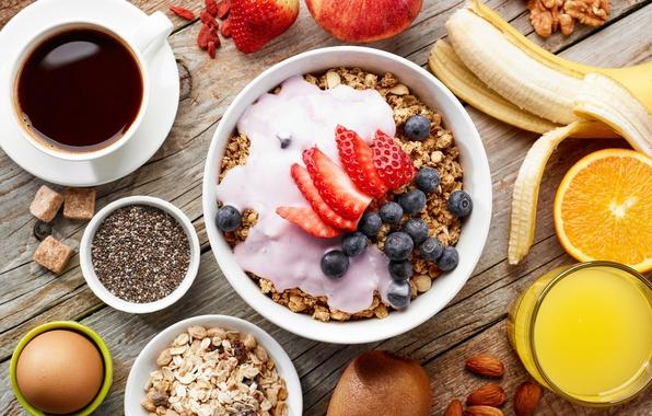 Картинка яйцо, кофе, апельсин, завтрак, киви, черника, клубника, сок, орехи, банан, Coffee, orange, nuts, strawberry, blueberry, …