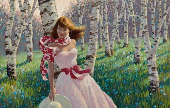 Картинка лес, девушка, цветы, весна, березы, живопись, Arthur Saron Sarnoff, розовое платье, Birch Forest