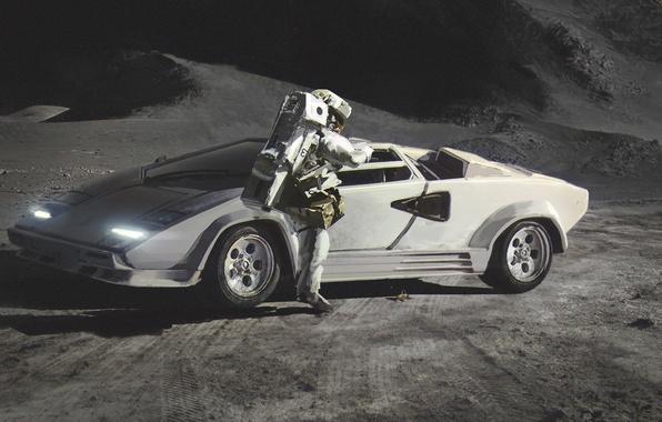 Картинка Lamborghini, Moon, Countach, Painting, Spaceman, Сanvas