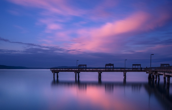 Картинка небо, вода, облака, город, гладь, вечер, причал, порт, залив, США, сумерки, синее, штат Вашингтон, Такома