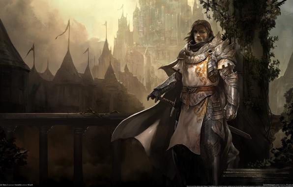 Картинка мост, туман, оружие, замок, меч, доспехи, воин, лестница, перила, рыцарь, плащ, game wallpapers, Guild wars …