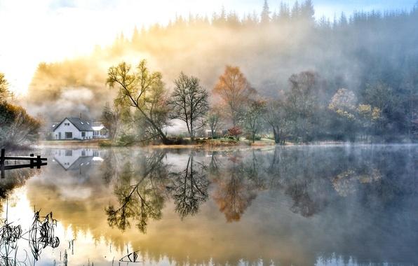Картинка осень, небо, вода, облака, деревья, пейзаж, природа, озеро, домов