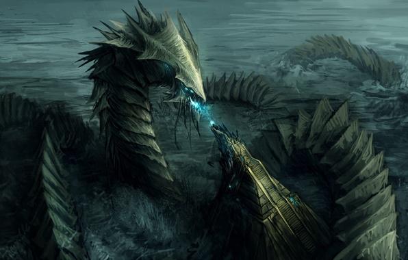Картинка море, волны, магия, дракон, монстр, арт, лестница, хвост, ступеньки