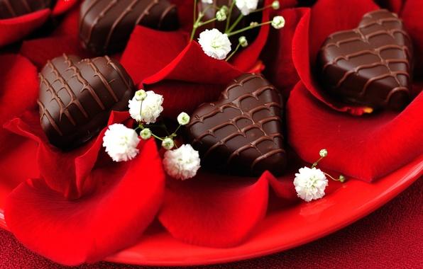 Картинка любовь, праздник, сердце, шоколад, розы, сердца, конфеты, love, heart, hearts, chocolate, holiday, roses, candy
