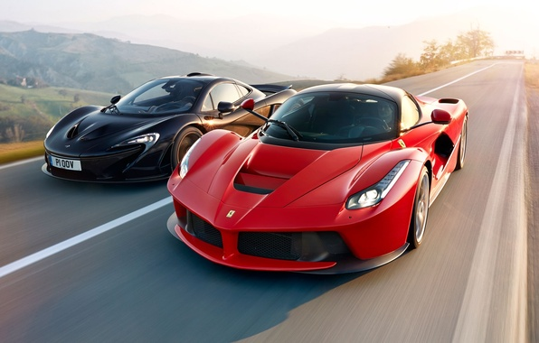 Картинка McLaren, Ferrari, Red, Power, Speed, Front, Black, Sun, Supercars, Road, LaFerrari, Lead