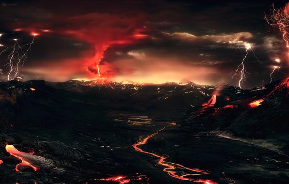 Картинка гроза, горы, ночь, огни, молния, вулкан, лава