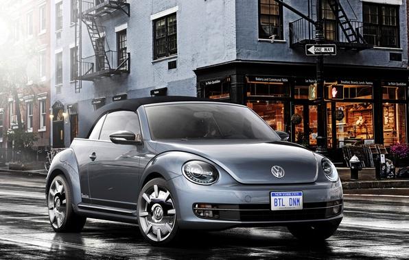 Картинка Concept, город, улица, жук, Volkswagen, концепт, кабриолет, фольксваген, Beetle, Denim, Cabriolet, 2015