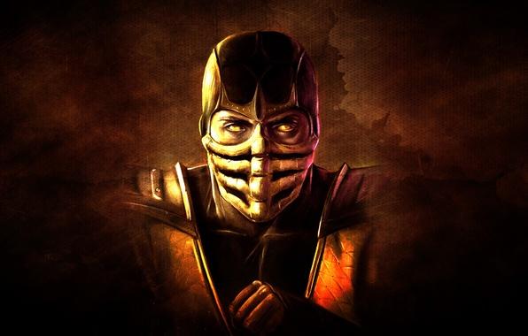 Картинка темный фон, рука, маска, скорпион, ниндзя, scorpion, mortal kombat