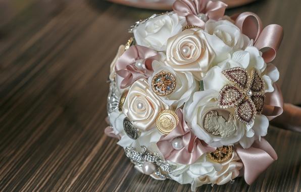 Картинка украшения, цветы, букет, лента, атлас, бусина
