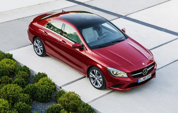 Картинка дорога, красный, Mercedes, red, мерседес, road, bush, CLA, 220