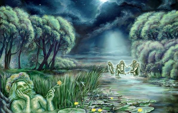 Картинка вода, облака, ночь, обои, луна, рисунок, звёзды, арт, водяной, живопись, русалки, кувшинки