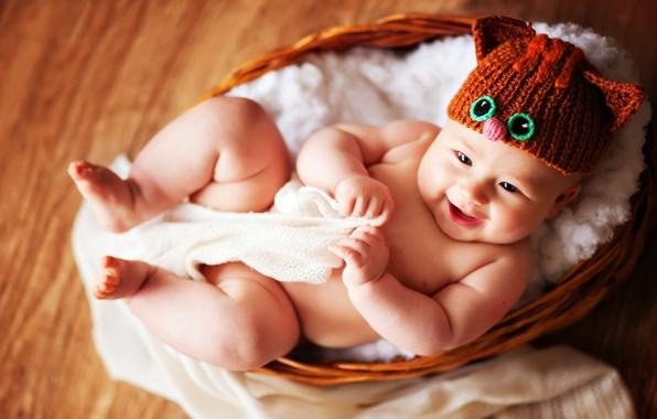 Картинка глаза, шапка, корзинка, младенец, улыбаясь