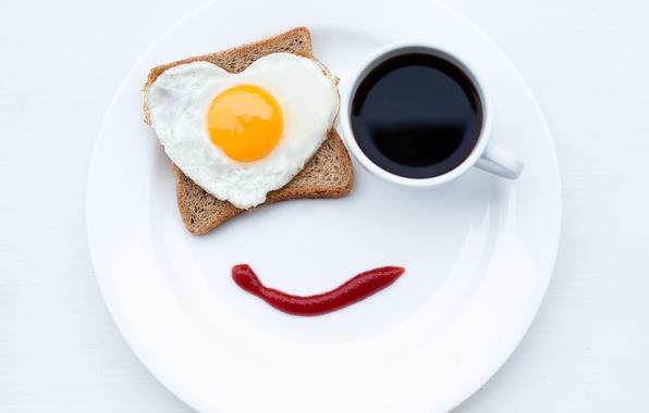 Картинка улыбка, креатив, кофе, еда, завтрак, тарелка, хлеб, кружка, яичница, кетчуп
