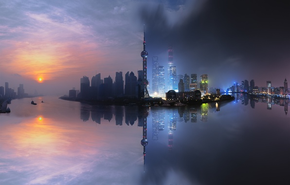 Картинка China, Shanghai, City, Light, Clouds, Sky, Sun, Water, Urban, Night, Street, Sunrise, Summer, Building, River, …
