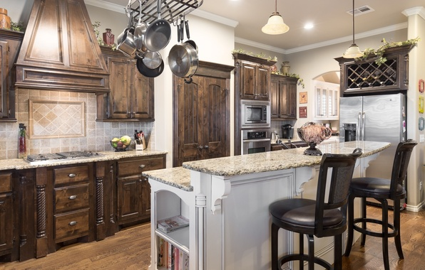 Картинка дизайн, стиль, мебель, стулья, холодильник, кухня, посуда