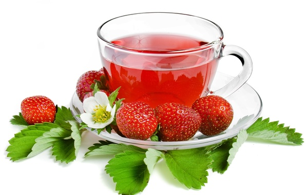 Картинка чай, клубника, ягода, чашка, белый фон, листочки, блюдце, strawberry, tea