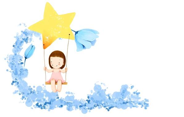 Картинка цветы, улыбка, фантазия, качели, звезда, платье, девочка, детские обои
