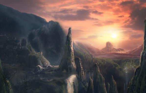 Картинка закат, горы, рисунок, Мост