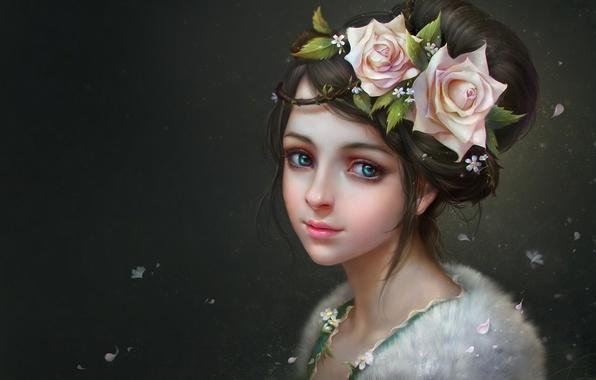 Картинка девушка, цветы, фон, розы, арт, мех