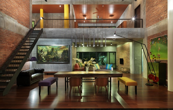 Картинка дом, интерьер, лестница, мебель.дизайн