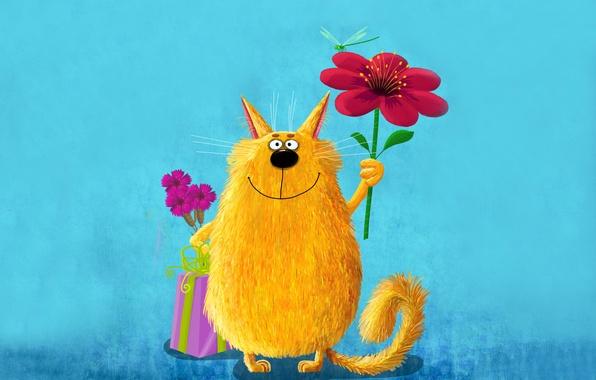 Картинка цветок, кот, желтый, розовый, краски, картина, стрекоза, большой, арт, милый, живопись, cat, держит, забавный, painting, …