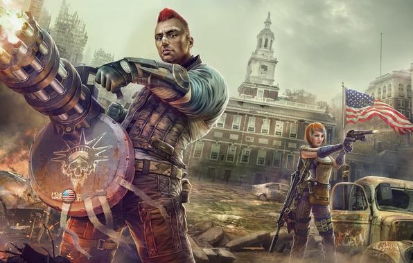 Картинка город, женщина, арт, мужчина, пулемет, руины, революция, миниган, шестистволка, Homefront: The Revolution