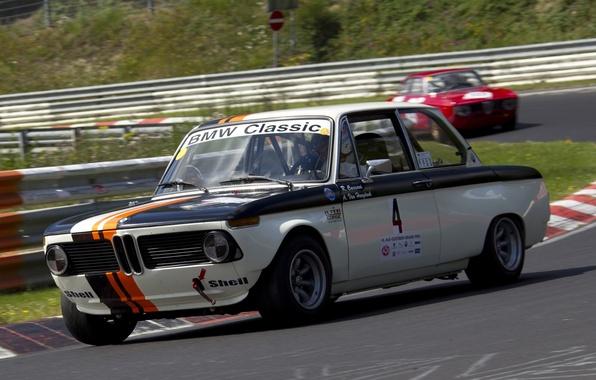 Картинка BMW, Вираж, Гоночный трек, Автоспорт, Race Car, (E10), 02 Series, Neue Klasse, 2002 TI, Гоночное …