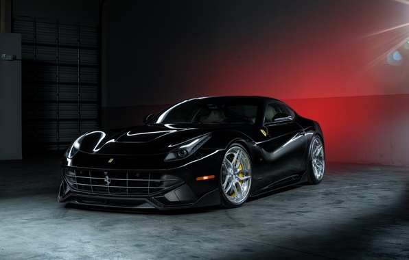 Картинка Ferrari, Power, Front, Black, Supercar, Berlinetta, F12, Wheels, ADV.1, Ligth