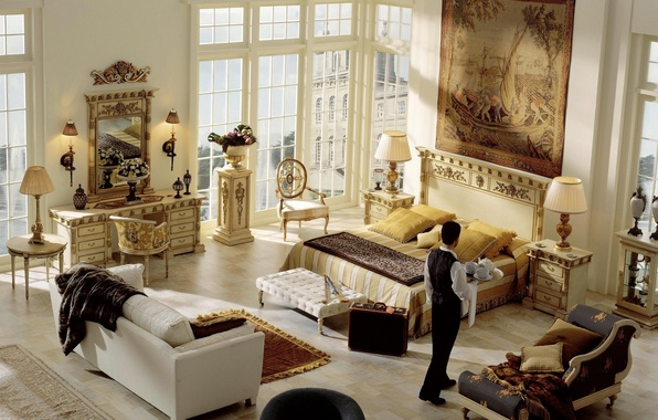 Картинка дизайн, стиль, комната, диван, ковер, мебель, человек, лампа, кровать, интерьер, картина, зеркало, чемодан, тумба, трельяж