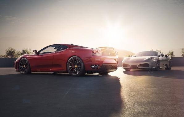 Картинка F430, Ferrari, Red, Sky, Sunset, Scuderia, Spider, Supercar, Silver