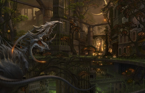 Картинка деревья, мост, город, луна, дракон, монстр, существо, арт, ucchiey, kazamasa uchio