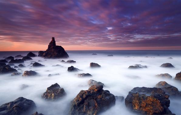 Картинка море, небо, облака, закат, оранжевый, камни, океан, берег, Вечер, синее