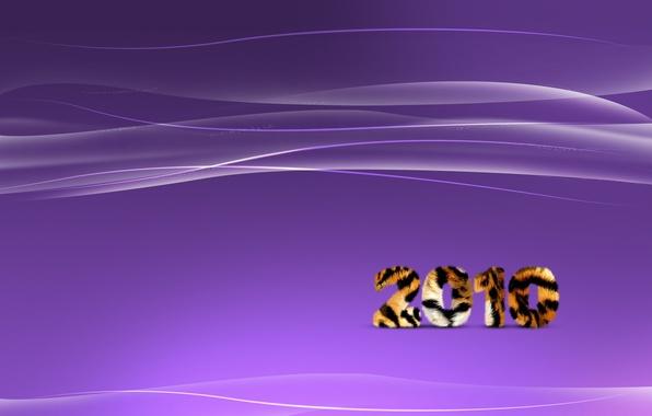 Картинка волны, фиолетовый, линии, тигр, полосы, новый год, 2010
