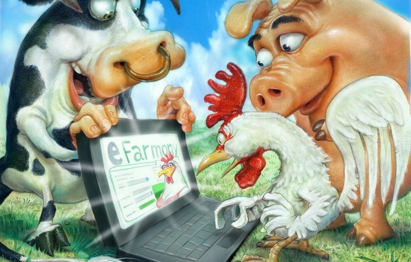 Картинка компьютер, свинья, ферма, петух, бык