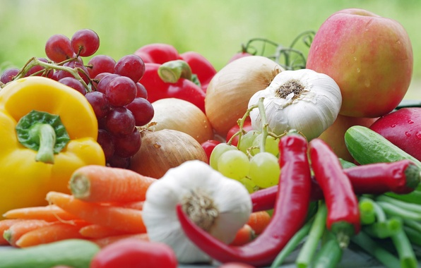 Картинка макро, яблоко, еда, лук, виноград, перец, фрукты, овощи, помидор, чеснок