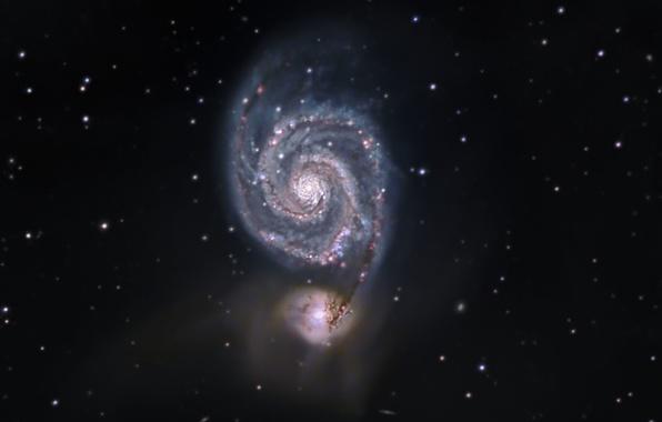 Картинка Галактика, Гончие Псы, Водоворот, в созвездии, M51
