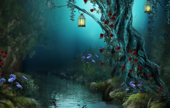 Картинка лес, цветы, ночь, природа, река, ручей, лампы, розы, фонари, Fantasy, forest, river, nature, night, flowers, …