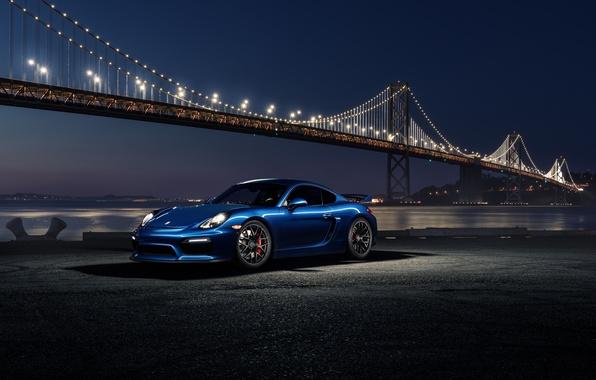 Картинка 911, Porsche, Car, Blue, Front, Bridge, Night, Sport, GT4