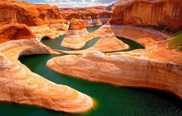 Картинка природа, река, скалы, Apple, 2560x1440, retina, гранд каньон
