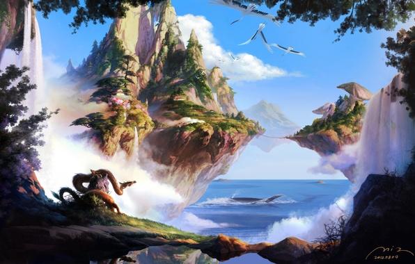 Картинка море, острова, деревья, горы, птицы, мост, природа, скалы, дракон, грибы, водопад, фэнтези, арт, летающие