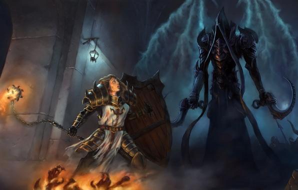 Картинка Art, Diablo 3, Warrior, Female, Blizzard Entertainment, Fan Art, Fanart, Shield, Armor, Video Game, Reaper …