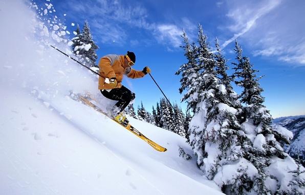 зима лыжи снег фото