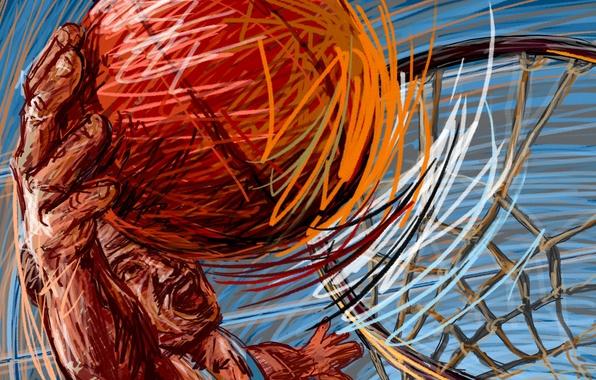 Картинка корзина, рисунок, мяч, вектор, баскетбол, игрок, штрих, слэм-данк