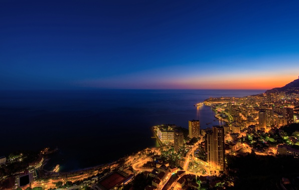 Картинка море, вода, горы, ночь, огни, города, океан, берег, побережье, дома, франция, монако, фото городов с …